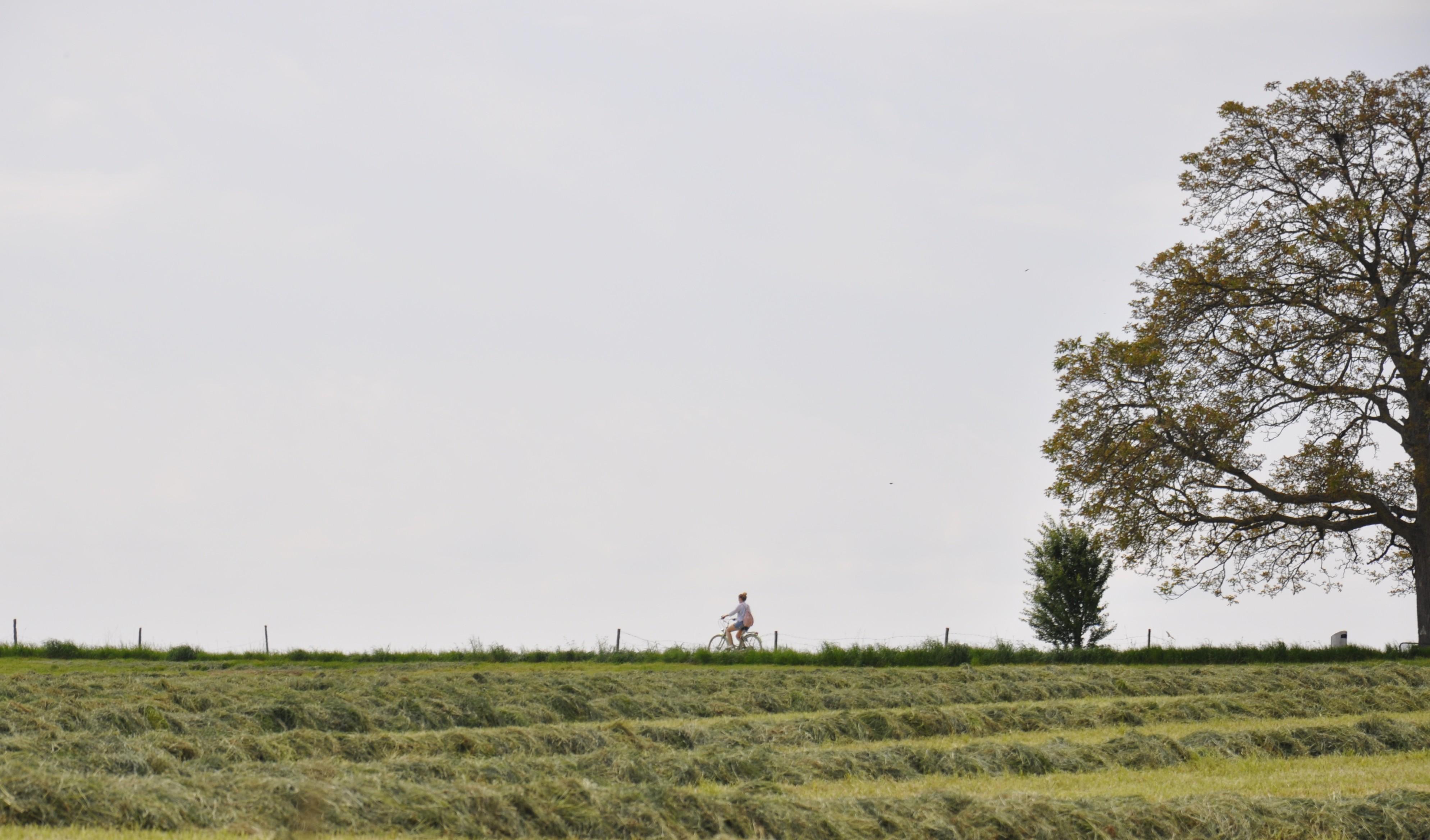 Eine Velofahrerin am Rande des Universums.